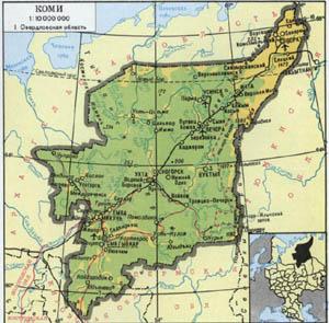 П Воргашор - карта, Республика Коми, Северо-западный